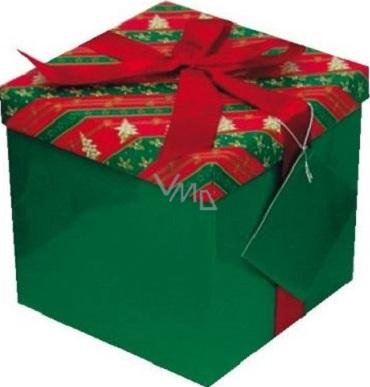 Dárková krabička s mašlí skládací vánoční červenozelená s vínovou mašlí 1372 M 15 x 15 x 15 cm 1 kus