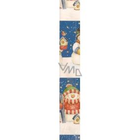 Nekupto Vánoční balící papír modrý Sněhulák s ptačí budkou 2 x 0,7 m