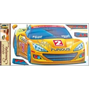 Samolepky na zeď žluté auto 60 x 32 cm