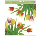 Okenní fólie bez lepidla rohová Tulipány žluté s glitry 30 x 33,5 cm