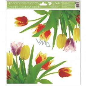 Room Decor Okenní fólie bez lepidla rohová Tulipány žluté s glitry 30 x 33,5 cm