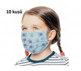 Rouška 3 vrstvá ochranná zdravotní netkaná jednorázová, nízký dýchací odpor pro děti 10 kusů modrá potisk tlapka