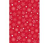 Ditipo Dárkový balicí papír 70 x 200 cm Vánoční červený bílo-zlaté vločky