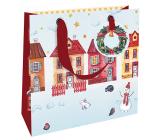 Nekupto Dárková papírová taška luxusní 18 x 16 cm Vánoční domečky WLIS 1970