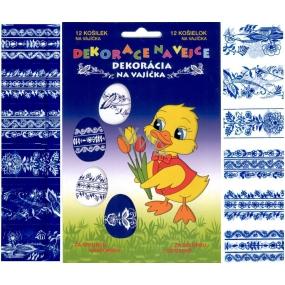 Fólie na vejce vzory modro-bílé 12 kusů v balení (smršťovací košilky)