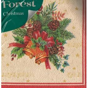 Forest Vánoční papírové ubrousky Zvonky s mašlí 1 vrstvé 33 x 33 cm 20 kusů