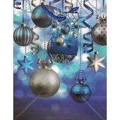 Anděl Taška vánoční dárková modrá, baňky, hvězdičky M 23x18x10cm