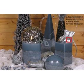 Lima Artic svíčka šedá hranol 65 x 120 mm 1 kus
