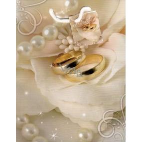 Nekupto Dárková papírová taška střední 952 01 BM béžová, perly a prsteny 23 x 18 x 10 cm