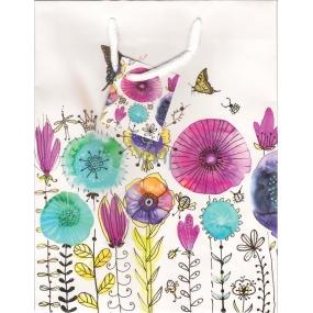 Nekupto Dárková papírová taška střední 23 x 18 x 10 cm kreslené květiny 1366 02 KFM