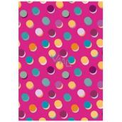 Ditipo Balicí papír růžový, barevná kolečka 100 x 70 cm 2 kusy