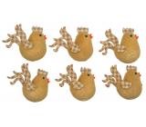Kuřátka hnědá s karečkovými křídly 5,5 cm 6 kusů