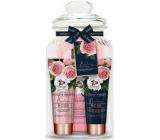 Baylis & Harding Čerstvé růže mycí gel 300 ml + krém do koupele 100 ml + tělové mléko 100 ml + žínka + dóza, kosmetická sada