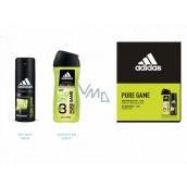 Adidas Pure Game deodorant sprej pro muže 150 ml + 3v1 sprchový gel na tělo, tvář a vlasy 250 ml, kosmetická sada