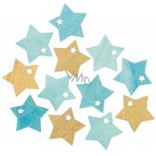 Hvězda dřevěná tyrkysovo-zlatá 4 cm 12 kusů