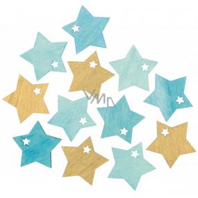 Hvězdy dřevěné 4 cm 12 kusů