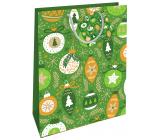 Nekupto Dárková papírová taška 32,5 x 26 x 13 cm Vánoční zelená ozdoby WBL 1955 50