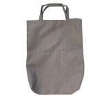 Taška nákupní hnědá pruhovaná s bužírkou 42,5 x 33 x 6 cm 9940