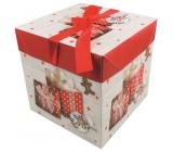 Dárková krabička skládací s mašlí Vánoční s dárky a perníčkem 21,5 x 21,5 x 21,5 cm