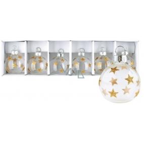 Sada skleněných baněk se zlatými hvězdami 4 cm 6 kusů