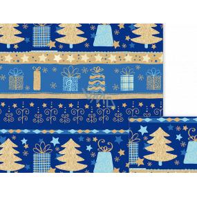 Ditipo Dárkový balicí papír 70 x 500 cm Vánoční modrý Vánoční motivy