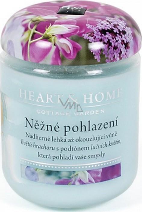 Heart & Home Něžné pohlazení Sojová vonná svíčka střední hoří až 30 hodin 110 g