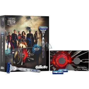 Gillette Mach3 Turbo Justice League holicí strojek pro muže + náhradní hlavice 2 kusy + VR Headset, kosmetická sada