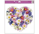 Okenní fólie bez lepidla Srdce z květů Luční kvítí 30 x 33,5 cm