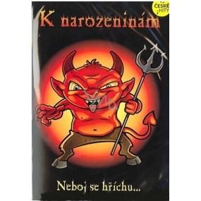 Albi Hrací přání do obálky K narozeninám Ďábelské narozeniny V pekle sudy válej Kabát 14,8 x 21 cm