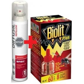 Diffusil Repellent Basic repelentní sprej na odpuzování komárů, klíšťat a muchniček 200 ml + Biolit Plus Tekutá náhradní náplň proti komárům a mouchám 60 dní 46 ml