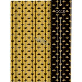 Albi Diář 2018 s magnetem Květy na zlaté 13 cm × 18 cm × 1 cm