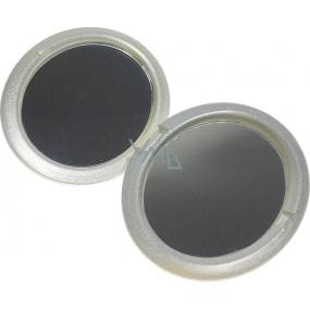 Zrcátko dvojité oválné stříbrné 7,5 x 6 x 1,3 cm 60100