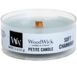 WoodWick Soft Chambray - Čisté prádlo vonná svíčka s dřevěným knotem petite 31 g