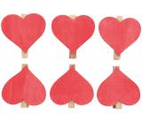 Srdce dřevěné na kolíčku červené 6 cm 6 kusů