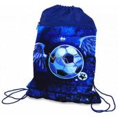 Donau Školní pytlík na obuv Fotbal se dvěma kapsami a zipem 42,5 x 32 cm