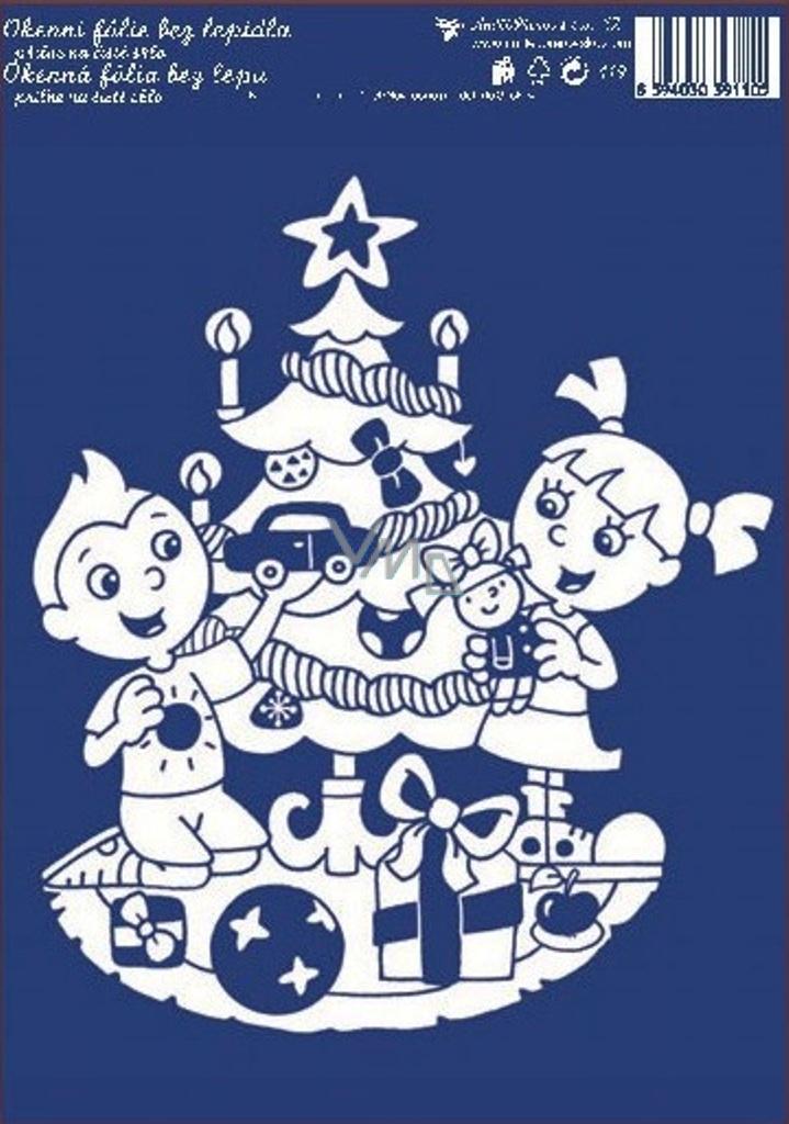 Room Decor Okenní fólie bez lepidla bílá děti u stromku 33 x 23 cm 1 kus