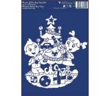 Vánoční okenní fólie bez lepidla bílá děti u stromku 33 x 23 cm 1 kus