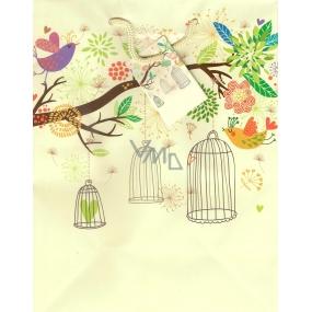 Nekupto Dárková papírová taška střední 23 x 18 x 10 cm ptáčci, klec 1052 01 BM