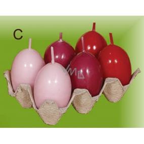 Lima Vajíčko s vůní svíčka červená 40 x 60 mm sada 6 kusů