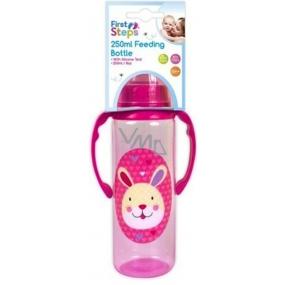 First Steps Jungle Zajíček 0+ kojenecká láhev s úchopy 250 ml