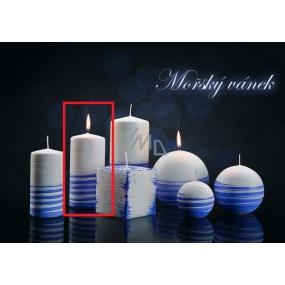Lima Aromatická spirála Mořský vánek svíčka bílo - modrá válec 60 x 120 mm 1 kus