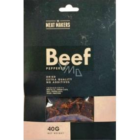 Meat Makers Beef Jerky Peppered tenké plátky z hovězí kýty konzervované sušením 40 g