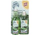 Bohemia Gifts & Cosmetics Konopný olej sprchový gel 200 ml + koupelová lázeň 200 ml + dekorační obraz Auto. Longer life at lower cost 13 x 24 cm, kosmetická sada