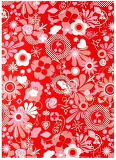 Ditipo Balicí papír červený, bílo růžové motivy 2 m x 70 cm