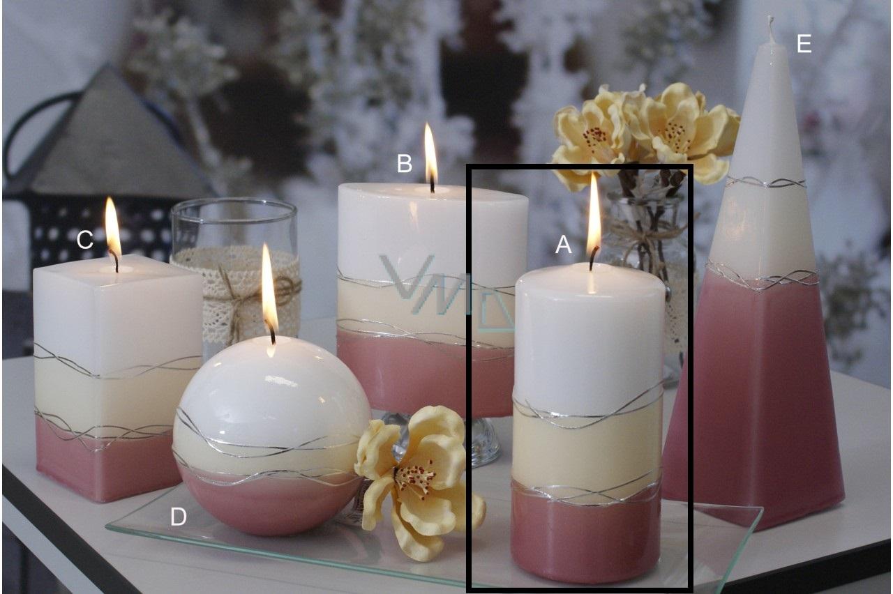 Lima Verona svíčka starorůžová válec 70 x 150 mm 1 kus