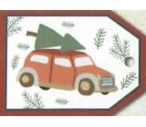 Nekupto Vánoční kartičky na dárky auto s větví 5,5 x 7,5 cm 6 kusů