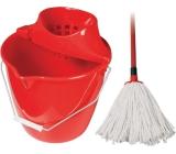 Spokar Úklidová souprava kbelík, ždímač, mop Červená 1 sada
