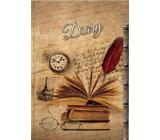Ditipo Deník Nostalgie knížky, brýle, hodinky B5 17 x 24 cm