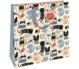 Nekupto Dárková papírová taška luxusní 32,5 x 32,5 x 14 cm Barevné kočky 2036 L - LIL
