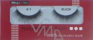Diva & Nice Umělé řasy nalepovací 100% Human Hair č. 1 černé 1 pár